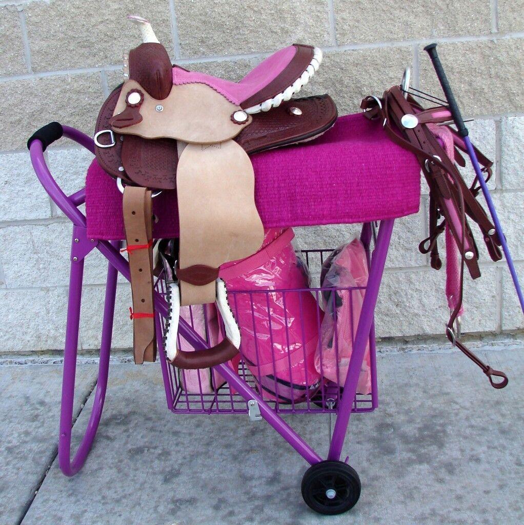Inglés o Western mostrar Rolling Silla De Montar Soporte Estante Pila Haul con la cesta de tachuela