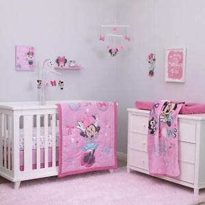 Details about Crib Bedding Set 4Pc Minnie Mouse Nursery Infant Baby Girl  Bedroom Comforter Set