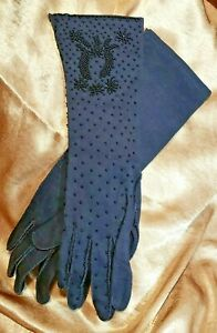 Vintage-1960s-Hand-Beaded-Black-Womens-Double-Woven-Cotton-Evening-Gloves-Sz-7