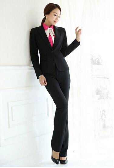 b75868da7152 Elegante Elegante Elegante Dimensioneur completo donna nero giacca manica  lunga pantaloni 7108 6ec409
