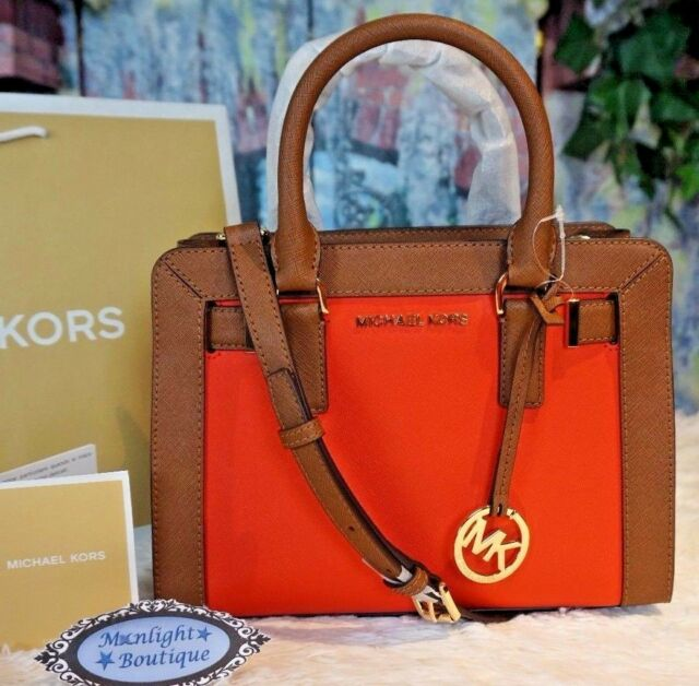4cba230e6cfd NWT MICHAEL KORS DILLON Top Zip Small Satchel Crossbody Bag SIENNA/LUGGAGE  $268