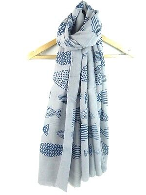Fish Print Scarf Grey Turquoise Fishes Ladies Large Wrap Sarong New