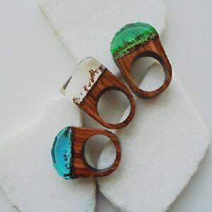 holz gie harz braun blau gr n pflanzen hippie design ring 17 25 18 0 mm ebay. Black Bedroom Furniture Sets. Home Design Ideas