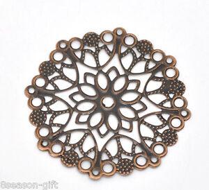 30-Copper-Tone-Filigree-Flower-Wraps-Connectors-50mm