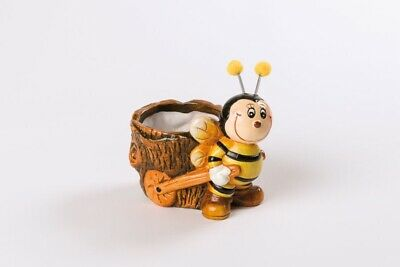 5,5cm NEU Blumentopf Keramik-Biene mit Pflanztopf 12,5x8,5x11 cm Topfd.