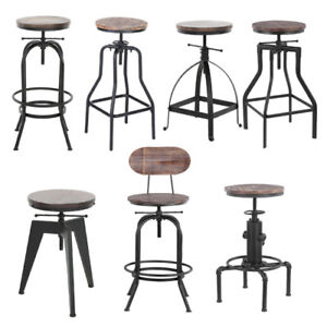 Super Details About Industrial Bar Stool Metal Wood Seat Retro Chair Height Adjustable Optional U7Z0 Forskolin Free Trial Chair Design Images Forskolin Free Trialorg