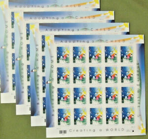 Four Sheets x 20 =80 of ADOPTING A CHILD STAMP 33¢ US Postage Stamps. Sc # 3398