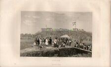 Stampa antica ILOK CROAZIA panorama con castello 1839 Old print starinski ispis