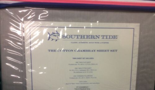 BRAND NEW SOUTHERN TIDE CHAMBRAY TWIN SIZE SHEET SET COLOR NAUTICAL GRAY