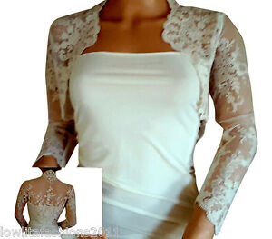 Ladies Ivory/White Lace Bridal Lace Bolero, Jacket , Shrug by Lowlita Designs