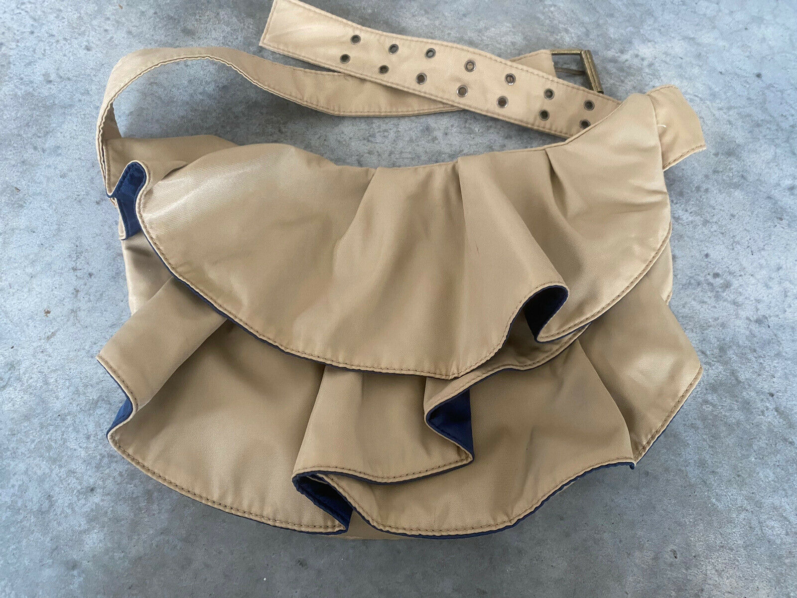 "Ruffle Nylon Beige Oatmeal Shoulder Bag Purse Dual Style 13"" x 10"""