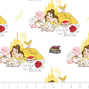 Disney-Beauty-amp-the-Beast-Lost-in-a-Book-in-White-100-Cotton-fabric-by-the-yard