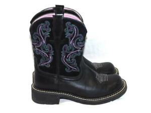 Ariat-7-5-B-Black-Purple-Blue-Fatbaby-II-Western-Boots-Stitched-Suede-Leather