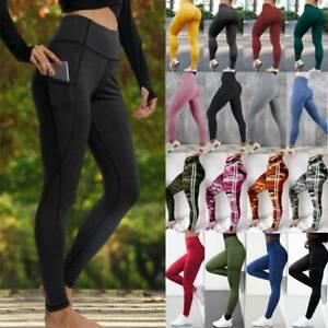 Damen Anti Cellulite PUSH UP Yoga Leggings Hohe Taille Jogginghose Sport Hose ML