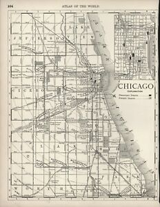 VINTAGE CITY MAP OF CHICAGO, IL - UNCOLORED - CIRCA 1900 - ... on