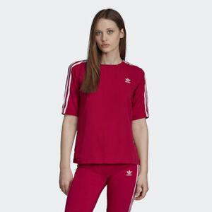 Details about Adidas DV0853 Women originals 3 Stripe tee SS shirts red