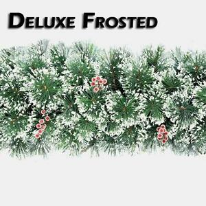 9FT-2-7M-Luxury-Frosted-Christmas-Garland-with-Red-Berries-Xmas-Decoration