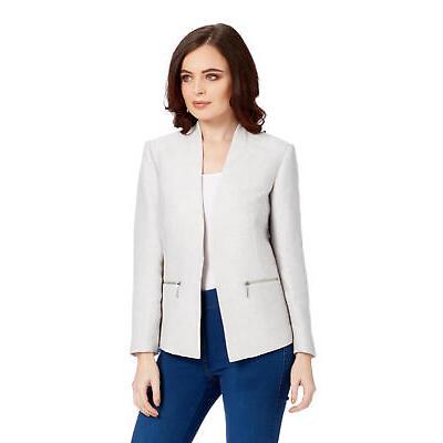 Roman Originals Women's Tailored Jacket Light Grey Formal Office Workwear Blazer