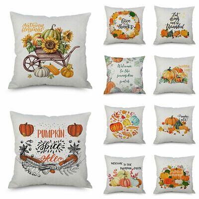 """18/""""Fall Halloween Pumpkin Pillow Case Waist Throw Cushion Cover Sofa Home Decor"""