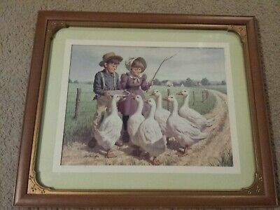 Framed Art Print Art Sarusffz Children Tending Geese 19 X 16 Ebay