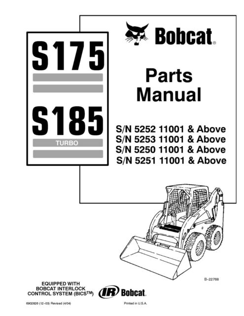 bobcat s175 s185 parts manual 6902826 for sale online ebay. Black Bedroom Furniture Sets. Home Design Ideas