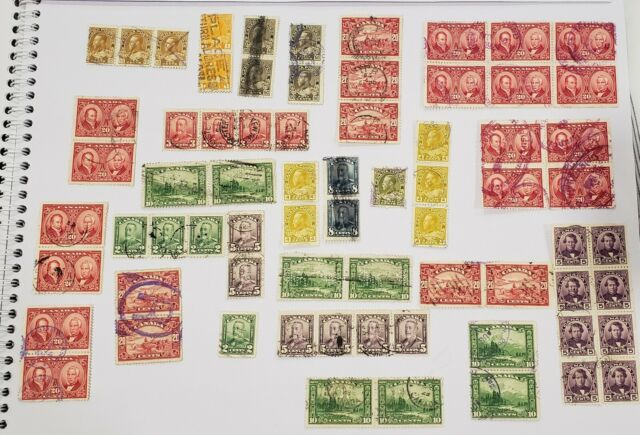 Lot of used Canada stamps. Many Admirals, scroll - pairs , blocks, singles