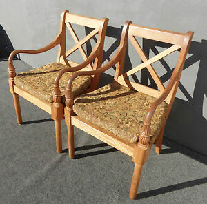 Pair Vintage Designer Solid Teak Lounging Accent Chairs