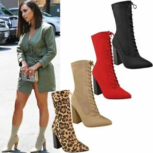 Womens-Ladies-New-Calf-Ankle-Boots-Lycra-Lace-Up-Shoes-Pointed-Toe-Stretch-Size