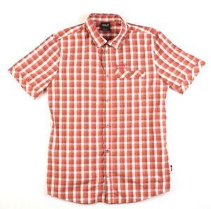 nowy przyjazd dostać nowe słodkie tanie Details about Jack Wolfskin Mens Button Front UV Shield QMC Size M Short  Sleeve Checker Red