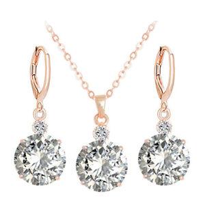 Elegant-Women-Rose-Gold-Earrings-Necklace-CZ-Zircon-Crystal-Wedding-Jewelry-Set