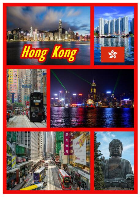 HONG KONG - SOUVENIR NOVELTY FRIDGE MAGNET - SIGHTS / FLAG / GIFTS / BRAND NEW
