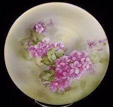 RS Germany Cabinet Plate Floral Purple Violets Schlegelmilch Gold Trim 8 3/8''