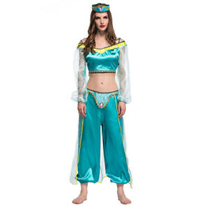 Halloween-Aladdin-Princess-Jasmine-Adult-Kid-Costume-Suit-Cosplay-Dress-Green