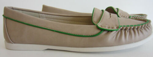R25A Spot On F8R974 Ladies Taupe Moccasin Style Loafer UK 3 to 7