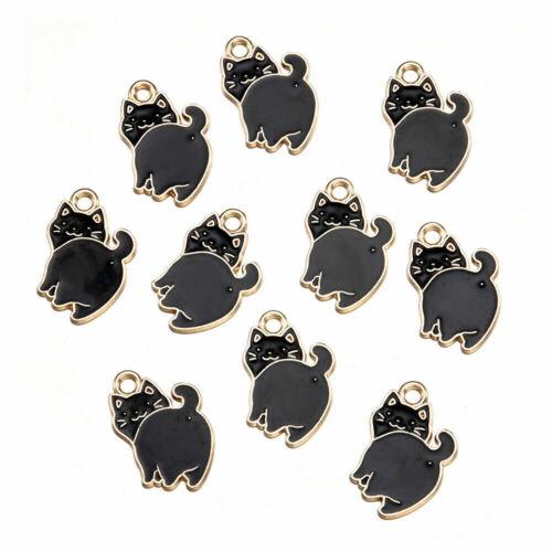 Gato Negro Encantos Colgantes Esmalte Metal