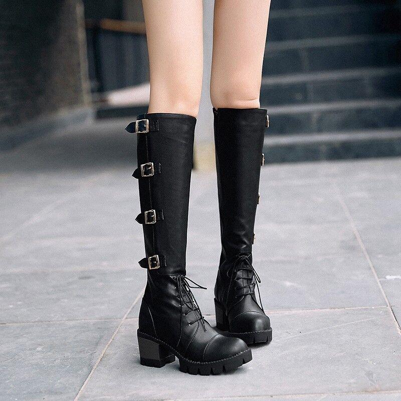 Retro para Mujer Hebilla Tacones Bloque Med Med Med la rodilla botas altas Zapatos con cordones de plataforma con cremallera  Ahorre 60% de descuento y envío rápido a todo el mundo.