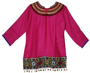 M-L Bohemian Embroidered Top Deep Pink