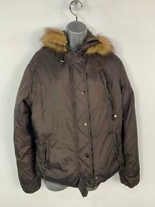 WOMENS PRINCIPLES DARK BROWN WINTER CASUAL PADDED RAIN COAT HOOD JACKET SIZE 16