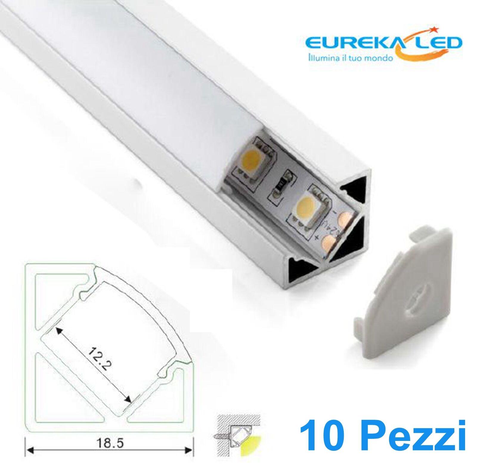10 10 10 pezzi Profilo alluminio Angolare 2mt  Striscia Led Barra Supporto per strip 1026d2