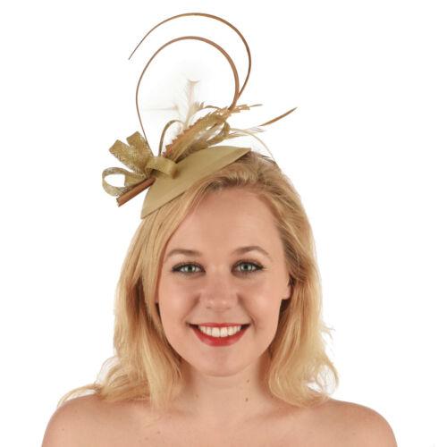 Wedding Church Evening Melbourne Cup Carnival Derby Day Gold Headband Fascinator