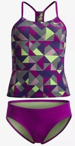 Girls-Nike-Racerback-Tankini-2-Pc-Swim-Suit-Fuchsia-Optic-Pop-NWT-Size-10