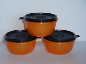 Image is loading Tupperware-Snack-Bowls-Halloween-Orange-w-Black-Seals- & Tupperware Snack Bowls ~Halloween~ Orange w/ Black Seals Set of 3 ...
