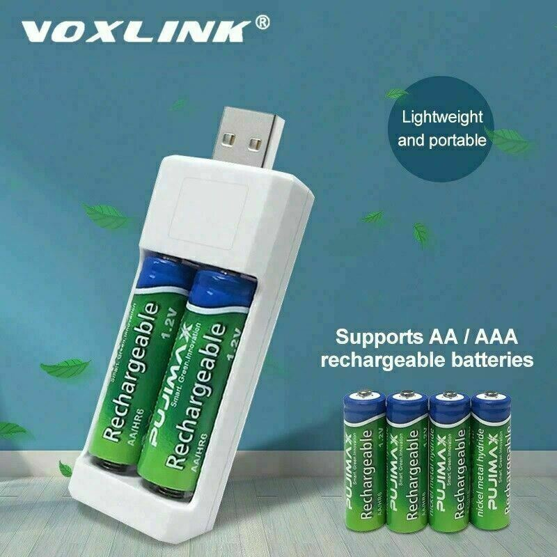 USB Battery Charger 2 slots For AA/AAA Rechargeable Batteries Charger For remote