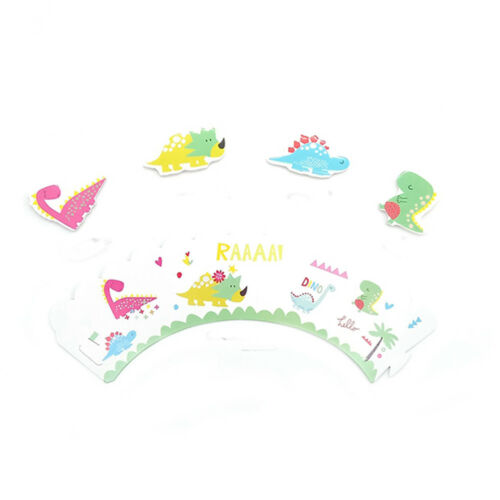 Dinosaur Theme Accessories Cupcake Wrapper /& Topper for Children Kids Party