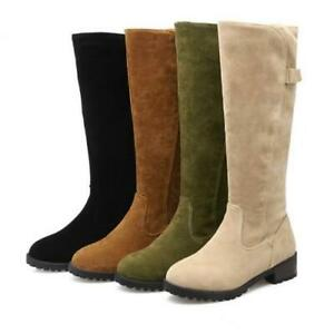 womens suede slim fit mid calf knee high boots winter low
