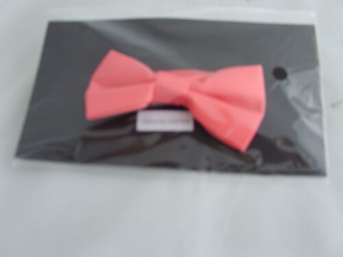 /< NEW /> Coral-Salmon Polyester BOYS Ready Pre-tied Bow tie /> P/&P 2UK /> 1st Class