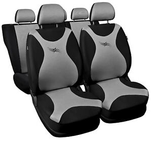 Car-seat-covers-fit-Mazda-323F-full-set-black-silver