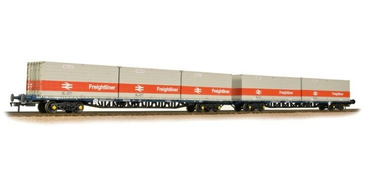 Bachmann 38 -625 FGA Freightfiner Wagons x 2 BR blå pre -tops med ISO Containers