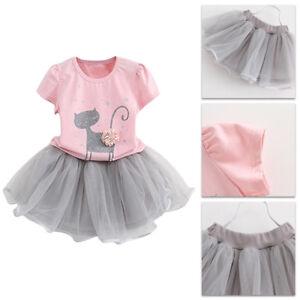 ee1daa08c2e 2pcs Enfant Bébé Fille été Vêtements T-shirt Chat Type + Jupe Tutu ...