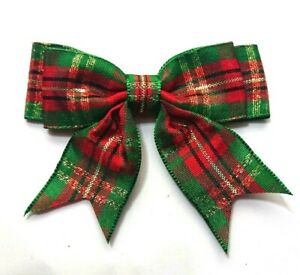 Pack-of-5-Tartan-Double-Bows-Large-8-5cm-25mm-Ready-Made-Craft-Green-Red